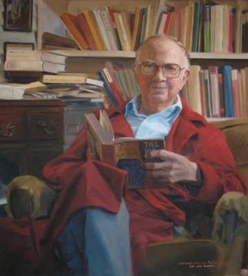"""September """"Artifact of the Month"""" - Portrait of Clyde S. Kilby by Deborah Melvin Beisner, 1987. Oil on canvas with the inscription """"Soli Deo Gloria."""""""