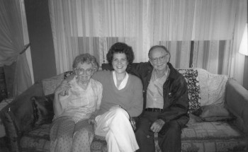 Martha Kilby, Marilee Melvin, and Clyde S. Kilby, Summer 1985.