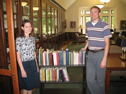 First day of the Wade Center cataloging project, August 2011. Pictured: catalogers Nicole Swanson (nee Long) and Karl Pettitt.