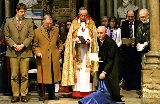 Unveiling the memorial stone. L to R:  Gregory Lippiatt (godson of Walter Hooper), Walter Hooper (Trustee and Literary Adviser to the Lewis Estate, and Lewis Scholar), the Very Reverend Dr. John Hall (Dean of Westminster), Dr. Michael Ward (Senior Research Fellow, Blackfriars Hall, Oxford, Lewis scholar, organizer of the Westminster Abbey event, and Wade Board member), and Douglas Gresham (younger stepson of C.S. Lewis).