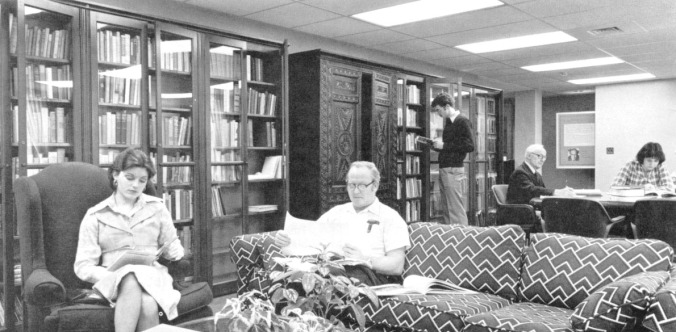 Wade Center Reading Room in Buswell Library. You can see the Lewis Family Wardrobe, and off to the right, C.S. Lewis's dining room table.