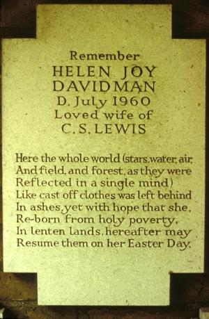 Joy's plaque at the Oxford Crematorium.