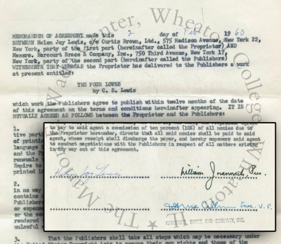 Publishing agreement for the US edition of THE FOUR LOVES, signed by Joy Davidman (Helen Joy Lewis). Dated February 2, 1960. From the Joy Davidman Papers, Folder 17.