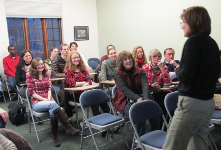 """Olga Lukmanova giving her lecture titled: """"Tolkien to Russia: There and Back Again"""" at the Wade Center, January 29, 2015."""