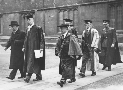 The procession for the awards ceremony, with participants in full academic dress. Williams is thought to be in the middle with his face obscured, making identification difficult.