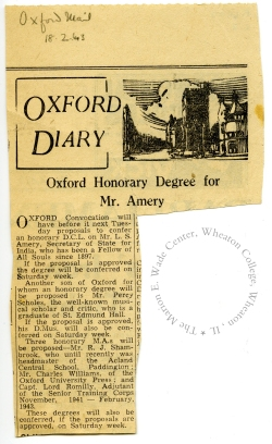 Article on the upcoming ceremony from the Oxford Mail, February 18, 1943.