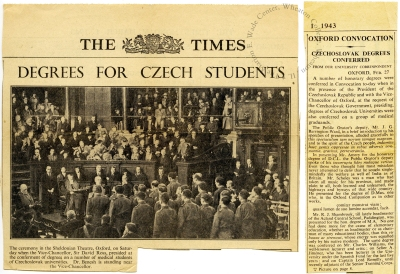 Article on the award ceremony from The [London] Times, March 1, 1943.