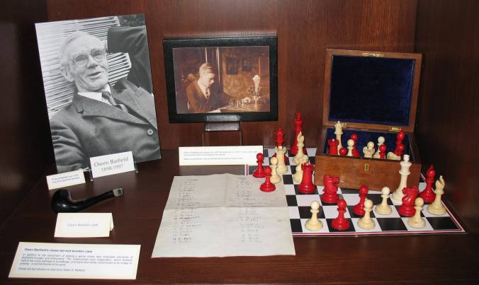 Owen Barfield's chess set and pipe, displayed in the Wade Center's Museum area.