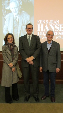 Dr. Sandra Richter, President Ryken, and Walter Hansen following the November 12, 2015 Hansen Lecture.