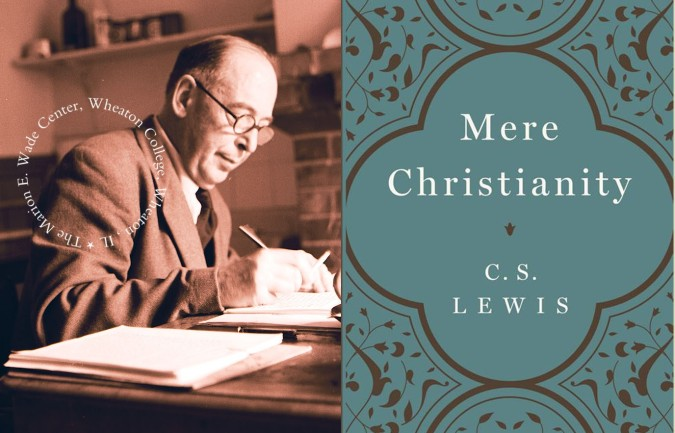C.S. Lewis at his desk in August 1960 (Image from the Wade Center's photo collection), and the cover of the HarperCollins 2012 edition of MERE CHRISTIANITY.